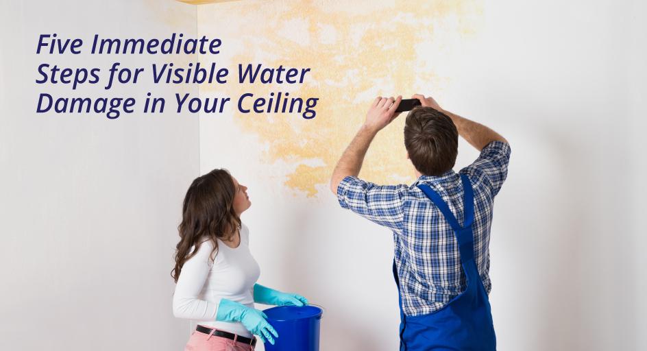 blog image of a water stain on a woman's ceiling and wall; blog title: Five Immediate Steps for Visible Water Damage in Your Ceiling
