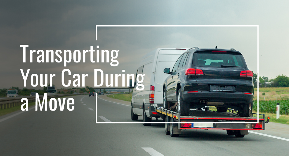 blog image of a car on a moving trailer; blog title: Transporting Your Car During a Move